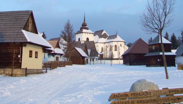 Múzeum liptovskej dediny Pribylina - zimný náhľad