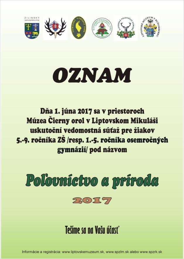 POĽOVNÍCTVO A PRÍRODA 2017 oznam zm.